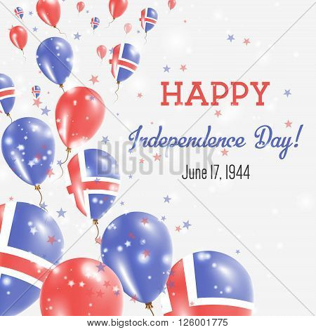 Iceland Independence Day Greeting Card. Flying Balloons In Iceland National Colors. Happy Independen