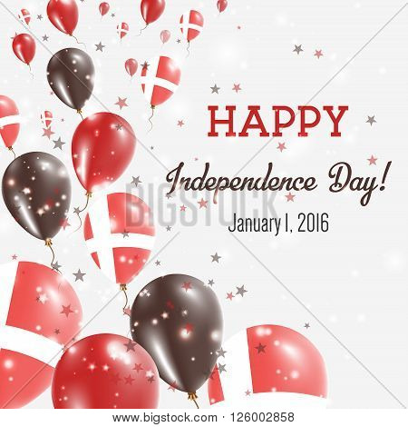 Denmark Independence Day Greeting Card. Flying Balloons In Denmark National Colors. Happy Independen