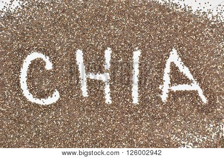 Word chia from seeds overhead horizontal view