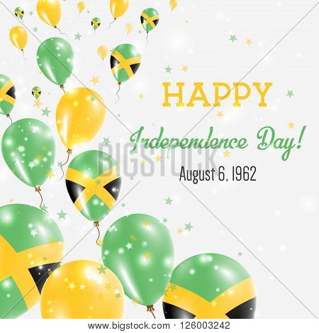 Jamaica Independence Day Greeting Card. Flying Balloons In Jamaica National Colors. Happy Independen