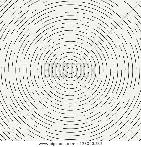 Abstract segmented geometric circle shape. Radial concentric circles. Rings. Swirly concentric segmented circles. Design element. Random lines. Vector illustration. Texture. Background.