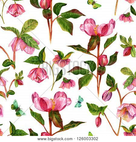 A vintage style seamless wallpaper with watercolor drawings of purple peony and hellebore flowers in bloom with butterfles