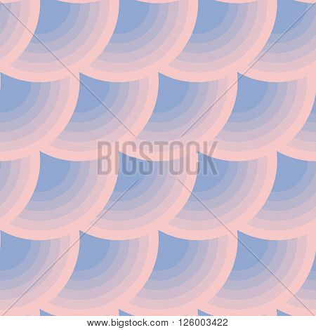Geometric circle seamless pattern in color. Abstract simple color transition from rose to violet colors.
