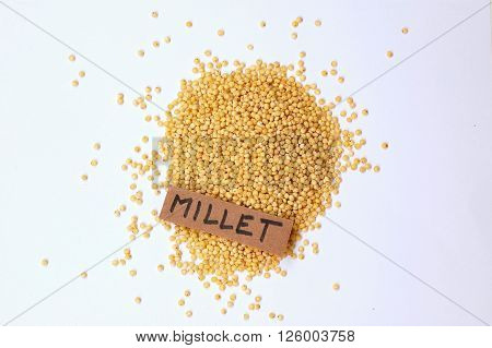 Millet With The Label On The White Background