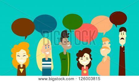 Mix Race People Group Chat Bubble Communication Social Network Flat Design Vector Illustration