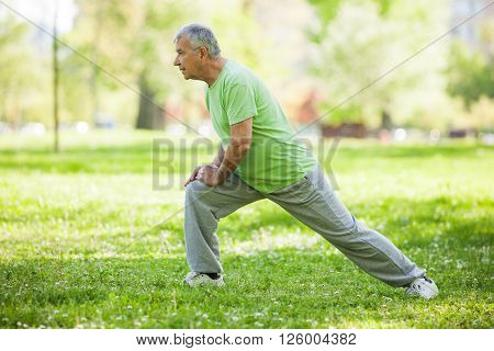 Senior man is exercising in park. Active retirement.