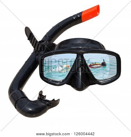 Women diving at ocean is reflected in diving mask and snorkel on the beach, Diving mask idea, Diving mask concept, Diving mask isolated, Diving mask background, Diving mask glass view ocean.