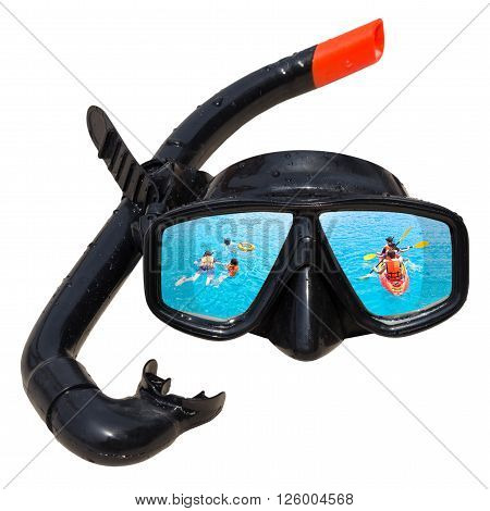 People activities in ocean is reflected in diving mask and snorkel on the beach, Diving mask idea, Diving mask concept, Diving mask isolated, Diving mask background, Diving mask glass view ocean.