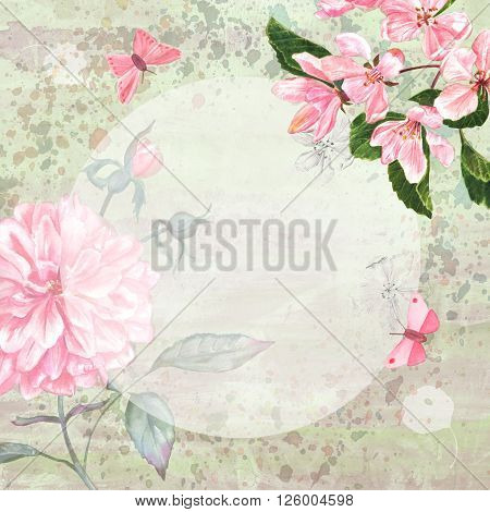A vintage style design template with tender pink flowers (apple blossom and peony) and butterflies on a textured green-toned background with a place for text in the middle