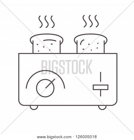 Toaster and bread vector illustration on white.