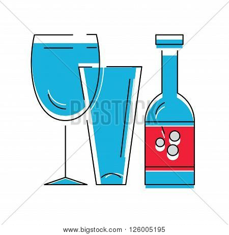 Bottle of wine or other alcohol beverage and glasses . Vector illustration, line syle.