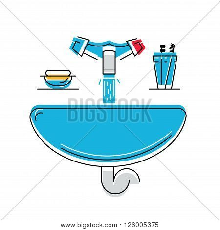Bathroom sink with soap and toothbrushes, line style vector illustration, personal hygiene.