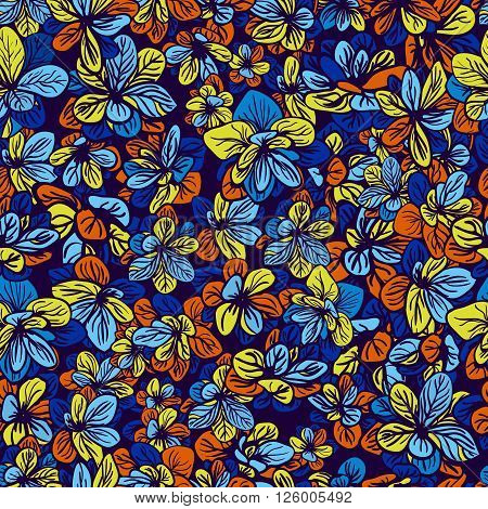 Floral background with colorful flowers. Seamless pattern