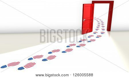3D illustration of the election in the USA with a red open door for the republicans and and a track of footsteps with an american flag texture leading through it