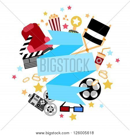 Strip Cinema Film Movie Camera Popcorn Banner Empty Copy Space Flat Vector Illustration