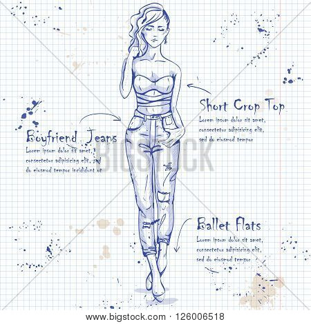 Trendy look on a notebook page. Glamor stylish beautiful young woman model.