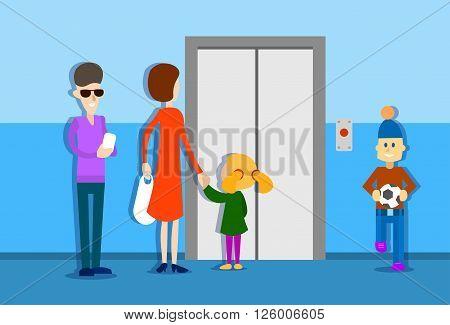People Group Waiting Elevator House Interior Flat Vector Illustration