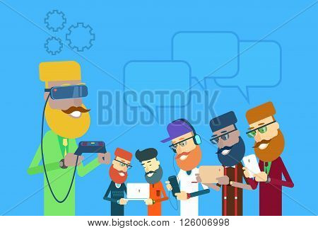 Man People Group Hold Laptop, Tablet, Smart Phone, Remote Console Wear Digital Glasses Chat Bubble Technology Flat Vector Illustration