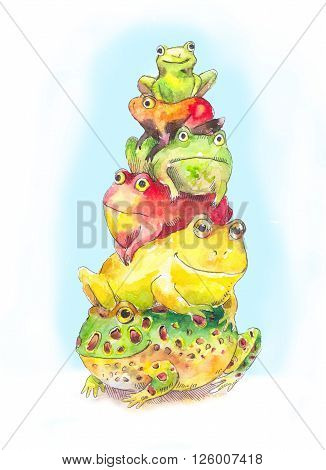 Bunch of toads. Funny cid's illustration with bunch of toads. Hand drawn watercolor bunch of frogs.