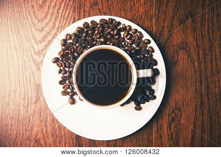 Coffee Beans On Saucer Top