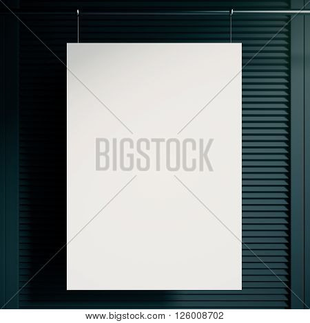 Blank white poster hanging in front of blank blinders. Mock up 3D Rendering