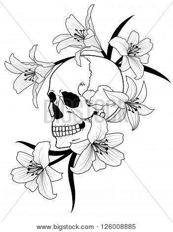vector illustration of skull and lily in black and white