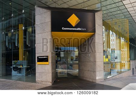 Sydney Australia - Mar 26 2016: Commonwealth bank branch on the corner of Liverpool and Castlereagh streets. Commonwealth bank of Australia is the largest Australian listed company on the ASX