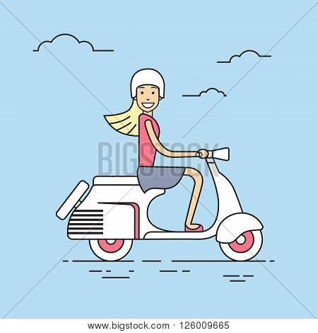 Girl Ride Electrical Scooter Retro Electric Transport Thin Line Vector Illustration