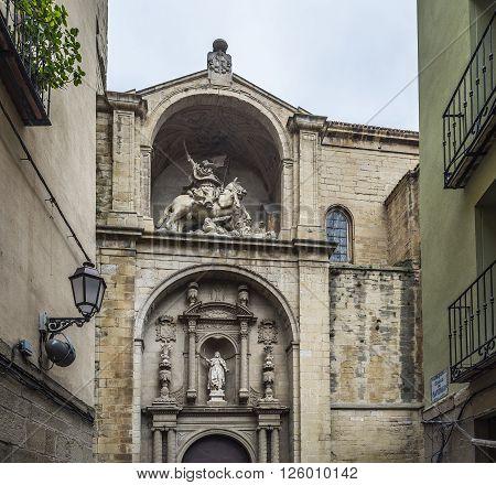 Principal facade of Santiago el Real church in Logroño. This church is dedicated to St. James the patron saint of Spain. La Rioja.
