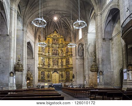Logroño Spain - April 9 2016. Parishioners in nave of Santiago el Real church in Logroño. This church is dedicated to St. James the patron saint of Spain. La Rioja.
