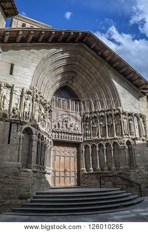 Principal facade of San Bartolome church in Logroño La Rioja. Spain.