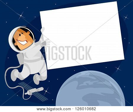 Vector illustration of a cosmonaut with banner