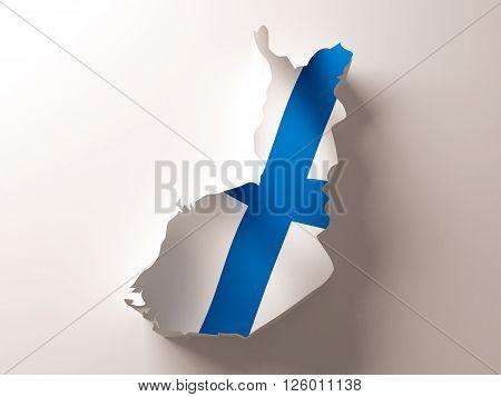 Flag map of Finland. 3d rendered illustration.