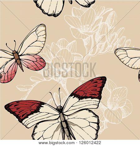 Butterfly pattern on light background, seamless, design