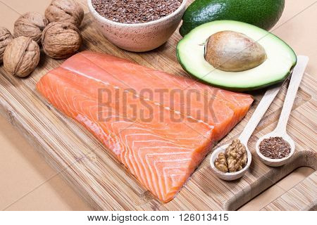 Sources of omega 3 fatty acids. Close Up.