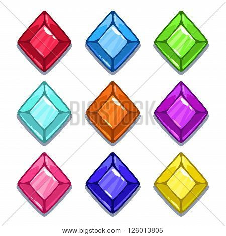 Funny cartoon colorful gems set, rhombus shape, vector GUI assets, isolated on white