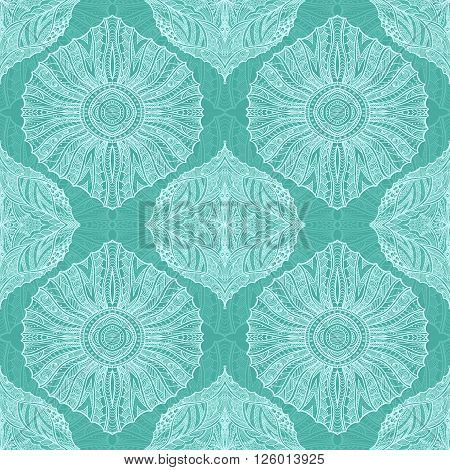 Seamless pattern in  Zen-doodle or  Zen-tangle  style light blue for wallpaper or for decorate package clothes  or different things