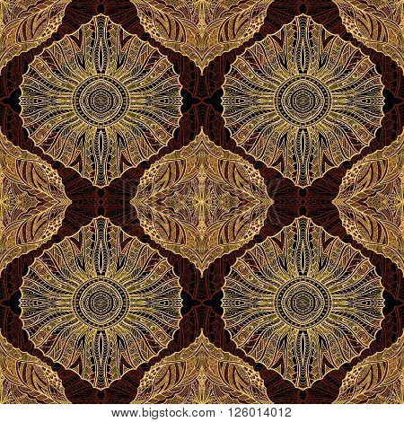 Seamless pattern in  Zen-doodle or  Zen-tangle  style brown orange for wallpaper or for decorate package clothes  or different things