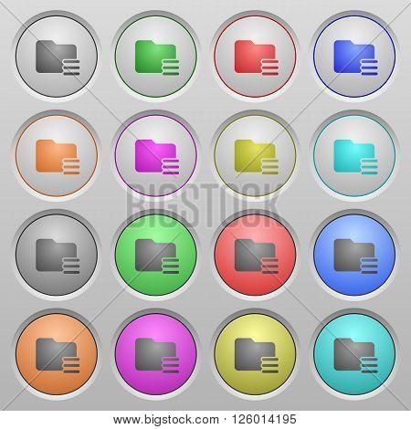 Set of Folder options plastic sunk spherical buttons.