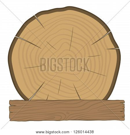 The log and wooden board - timber label. Tree with growth rings and an old wooden board.