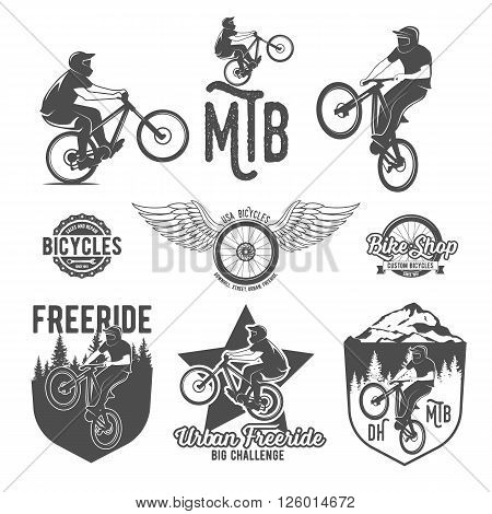 Set of vintage and modern bicycle shop logo badges and labels