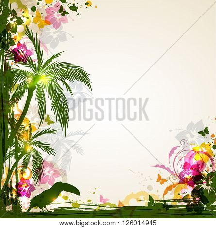 Vector bright tropical background with palms and toucan. Summer background with tropical flowers.