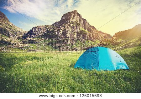 Rocky Mountains Landscape and tent camping Travel Lifestyle concept Summer adventure vacations outdoor