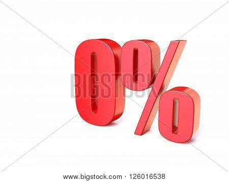 Red percentage sign 0. 3D render illustration isolated on white background