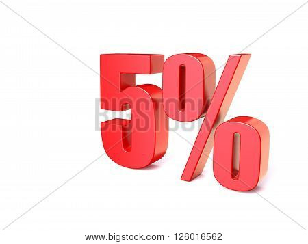 Red percentage sign 5. 3D render illustration isolated on white background