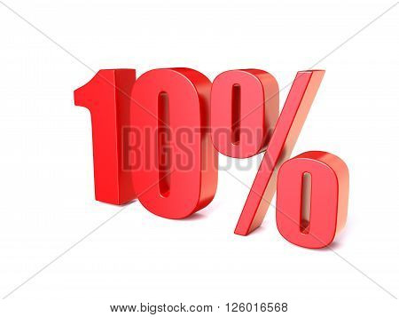 Red percentage sign 10. 3D render illustration isolated on white background