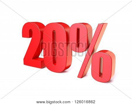 Red percentage sign 20. 3D render illustration isolated on white background