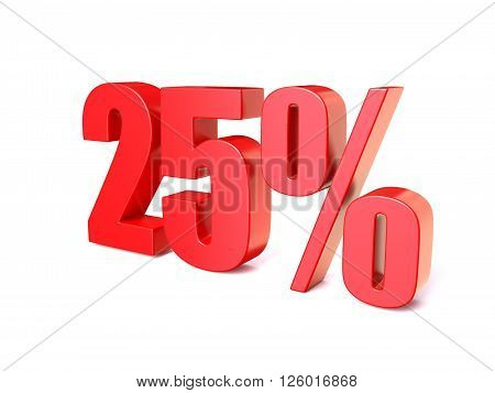 Red percentage sign 25. 3D render illustration isolated on white background