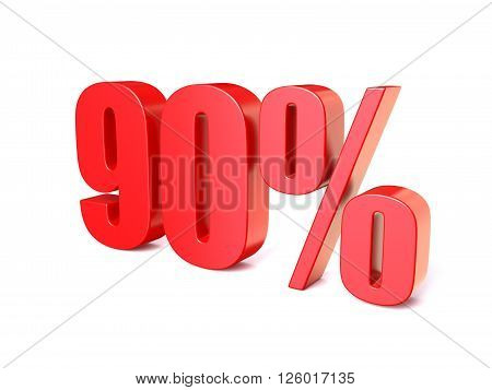 Red percentage sign 90. 3D render illustration isolated on white background