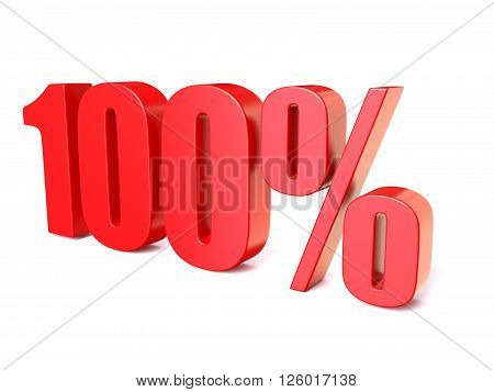 Red percentage sign 100. 3D render illustration isolated on white background